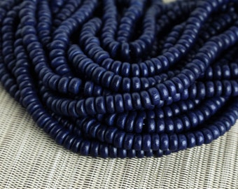8mm Navy Blue - Wood Pucalet Rondelle Beads - Dyed and Waxed - 15 inch strand