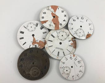 Lot of 6 Antique/Vintage Pocket Watch Faces from Tavannes, Grand Central, Waltham & Standards Watch Companies
