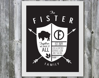 Custom Family Crest Art Order - Choose your own colors and quote! Personalized Family Poster- Kids Names- Anniversary Date