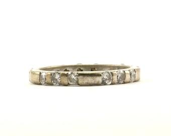 Vintage Crystal Design Band Ring 925 Sterling Silver RG 435