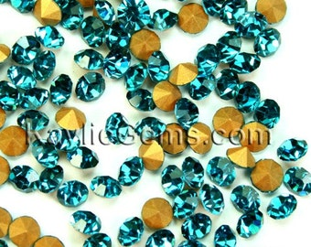 Rhinestone Chaton SS6 /2mm SS8.5 /2.5mm, SS12/3mm, SS14/3.5m, SS16/4mm,  Pointed Back Foiled - Blue Zircon -72 pcs - Pick Your Size