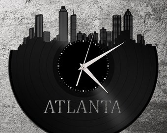 Atlanta Clock, Atlanta Skyline Clock, Georgia Wall Art, Atlanta Wall Decor, Record Clock,  Unique Wall Clock,  Large Wall Clock, Vinyl Clock