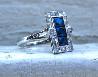 Vintage Platinum Diamond and Square Sapphire Cluster Ring Engagement Ring- 1.48ct.