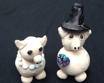 Lil'piggy Wedding cake toppers figurines