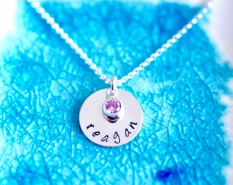Name Necklace - Birthstone Jewelry - Name Jewelry - Gift For Her - Sterling Silver Name Jewelry - Girls Name Jewelry - Mothers Name Jewelry
