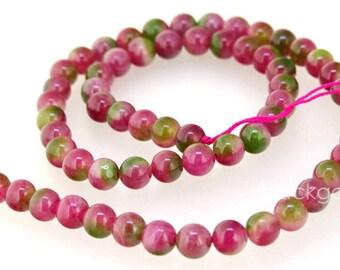 Round Candy Multicoloured 6mm 10mm Watermelon Jade Gemstone Beads One Full Strand Green Jade Peach Jade Strand
