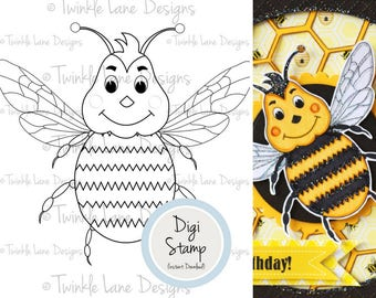 Bumble Bee, Digi Stamp, Bee, Insect, Colouring Page, Flying, Black and White, Busy Bee, Digital Stamp, Honey Bee, Papercrafting Stamp, Craft