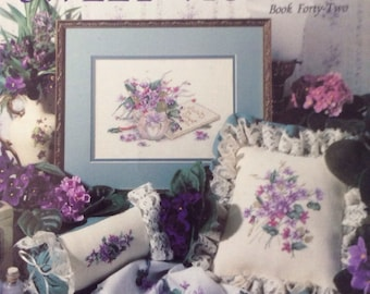 Sweet Violets/Vintage 1991 Counted Cross Stitch Patterns/Paula Vaughan/Wall Hanging/Cottage Decor/Leisure Arts 2059