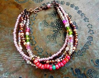 Rustic Copper Multi Strand Seed Bead Southwestern Colors Bracelet