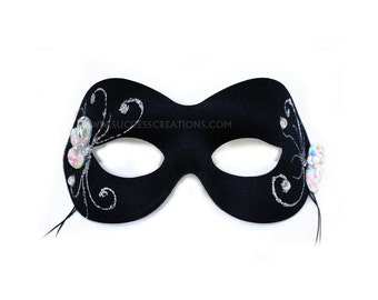 Cristal Black Hand-Painted Women's Masquerade Mask - A-2344-E
