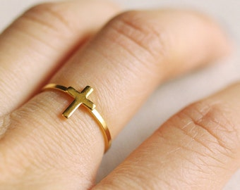 small cross ring . silver cross ring . stackable cross ring . gold cross ring . minimalist jewelry . stackable cross ring