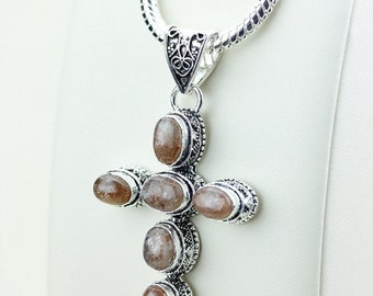 Peach Moonstone Vintage Antique Victorian CROSS 925 S0LID Sterling Silver Pendant + 4MM Chain & FREE Shipping p2997