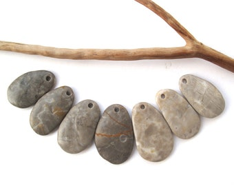 Rock Beads Mediterranean Beach Stone Beads River Stone Diy Jewellery Drilled Natural Stone Pebble Pendants SOFT MIX 31-35 mm