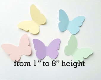 """Paper butterfly die cuts /pastel colors/ 50pc/ size from  1"""" to 8""""/ spring butterflies"""