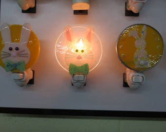 Rabbit - Bunny Night Lights - Fused Glass Bunny Nightlights - Easter Nightlights -  With & Without Hobby Lead