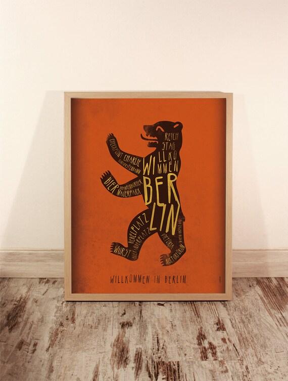 Berlin. Germany. Poster. Wall decor art. Illustration. Digital print. City. Whale. Bear. Travel. 15,75x19,69 inch