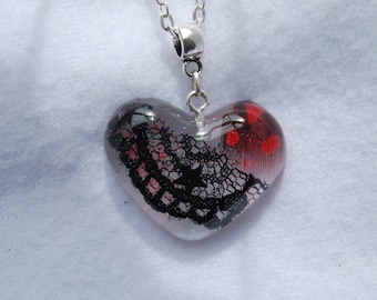heart resin necklace with inclusions