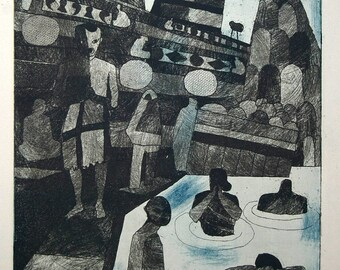 Julian Trevelyan - Holy Ganges - 1966 Art Print Surrealist Etching, with Aquatint