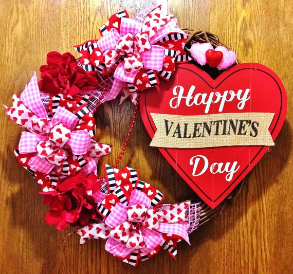 Valentine's Day Floral Hearts - Welcome Door Grapevine Wreath