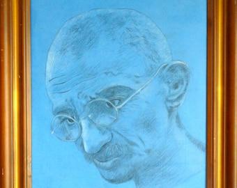 Ghandi (original framed charcoal drawing)