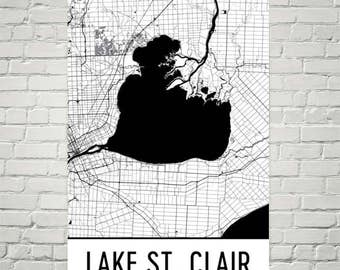 Lake St. Clair Michigan, Lake St. Clair MI, Detroit Art, Detroit Decor, Lake Map, Michigan Map, Cottage Decor, Detroit Map, Michigan Print