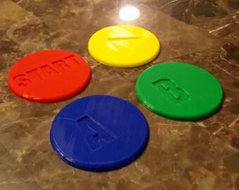 Vintage / Retro Video Game Console Button Coaster Set - Set of 4!
