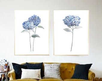 Set of 2 hydrangea watercolor art print hydrangea painting, Flower painting, Floral art print, Botanical art