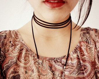 Black/Brown Suede Wrap Choker. Bolo Tie Necklace. Feather/ Arrowhead/Moon Charm. Bohemian Jewelry.