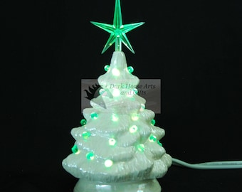 Mother Of Pearl Ceramic Christmas Tree 7 in Green Lights