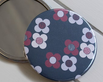 Indigo Blue Large Pocket Mirror Mod Flower floral cosmetic make up