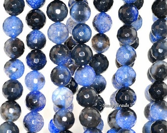 8mm Blue Agate Gemstone Spider Web Blue Faceted Round 8mm Loose Beads 15 inch Full Strand (90148318-445)