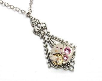 OCTOBER Steampunk Necklace, LIGHT PINK Steampunk Vintage Watch Necklace Silver Wedding Victorian SteamPunk Jewelry VictorianCuriosities