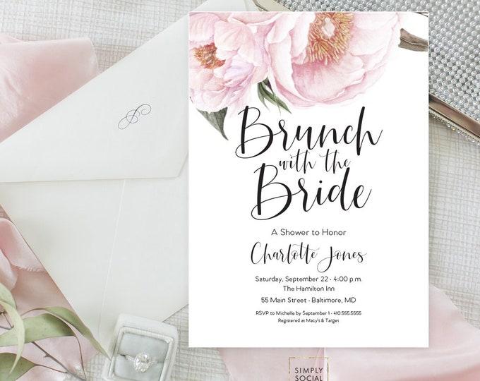 Pink Floral Greenery Brunch Bridal Shower Invitation - Garden Shower - Baby Shower Invitation - Peony Blush Invitation Watercolor Printable