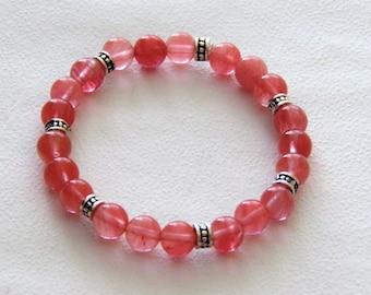 Elastic bracelet cherry quartz