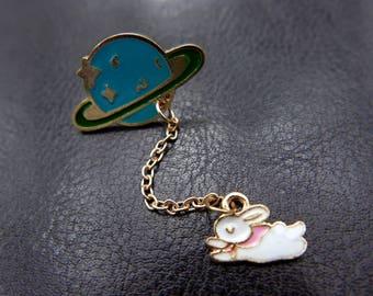 Rabbit Brooch, bunny brooch, Enamel pin