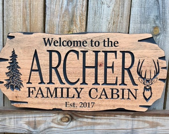 Outdoor Signs, Mahogany Wood, Wooden Carved Cabin Sign, Pine Trees, Whitetail Deer, Deer Antlers, Cabin Decor, Cottage Sign, Benchmark Signs