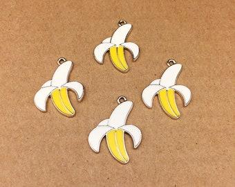 10PCS, 21*29MM, Enamel Charm, Fruit Charm, Banana Charm, Gold Plated Charm, DIY Findings