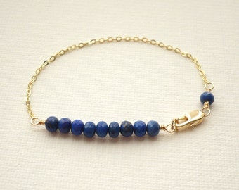Lapis Lazuli Bracelet, Gold Filled or Sterling Silver, Genuine Real Gemstone Row Bar, Wire Wrapped, Royal Blue Jewelry