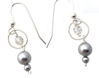 Swarovski Crystals & Grey Pearl Dangle Earrings in Sterling Silver - 536