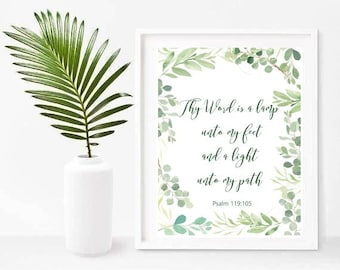 Psalm Print, Thy Word Is A Lamp, Psalm 119 105, Bible Verse Print, Christian Print, Printable Art, Instant Download,  Scripture Print