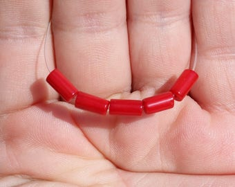 5 BEADS, RED CORAL TUBE 8 X 4 MM.
