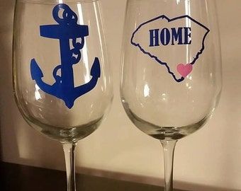 Anchor and South Carolina wine glasses