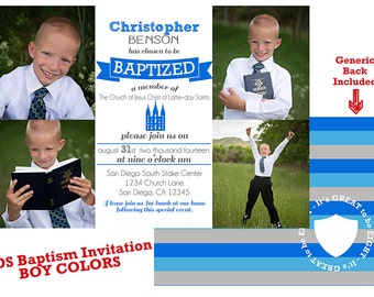 LDS Baptism Invitation - BOY Baptism - Custom LDS Baptism Photo Announcement/Invitation