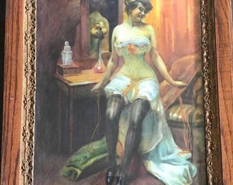 Wonderful Art Nouveau Period Watercolour of a Burlesque Dancer