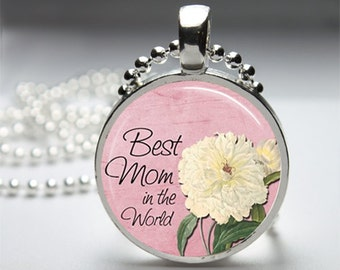 Best Mom Mother Round Pendant Necklace with Silver Ball or Snake Chain Necklace or Key Ring