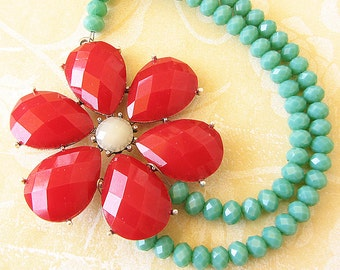 Red Necklace Teal Necklace Statement Necklace Flower Necklace Beaded Necklace Multi Strand