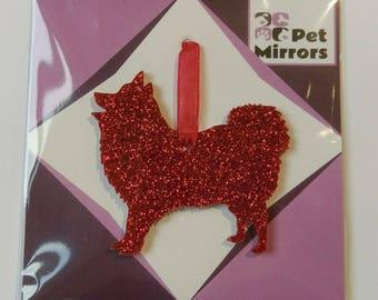 Glitter acrylic Japanese Spitz Christmas decoration - 9 colour choices