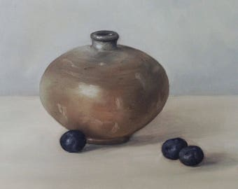 Original oil painting: Vase with Blueberries 6x6""