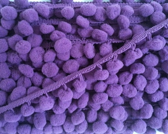 5 Yards Violet LargePom Pom Trim, Purple Trim, Violet trim, purple pom pom trim, Trim Lot, Wholesale Trim, Violet, Purple, Large Pom Pom