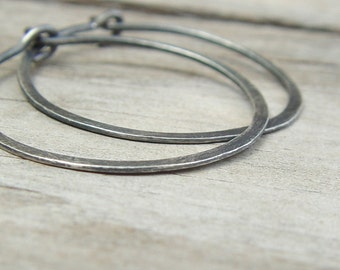 Oxidized Sterling Silver Hoops, Classic Organic Shape Hoops, Large Silver Hoop Earrings, Sterling Silver Hoop Earrings